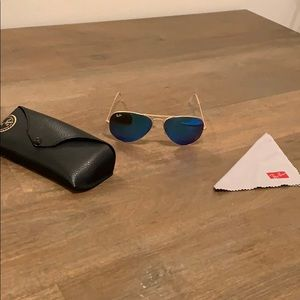 Ray Ban aviators with blue mirror lens
